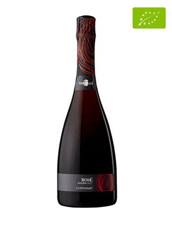 Ampolla de vi escumós Torelló Rosé Brut Reserva 2017 vista frontal